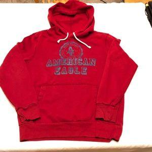 American Eagle red sweatshirt.